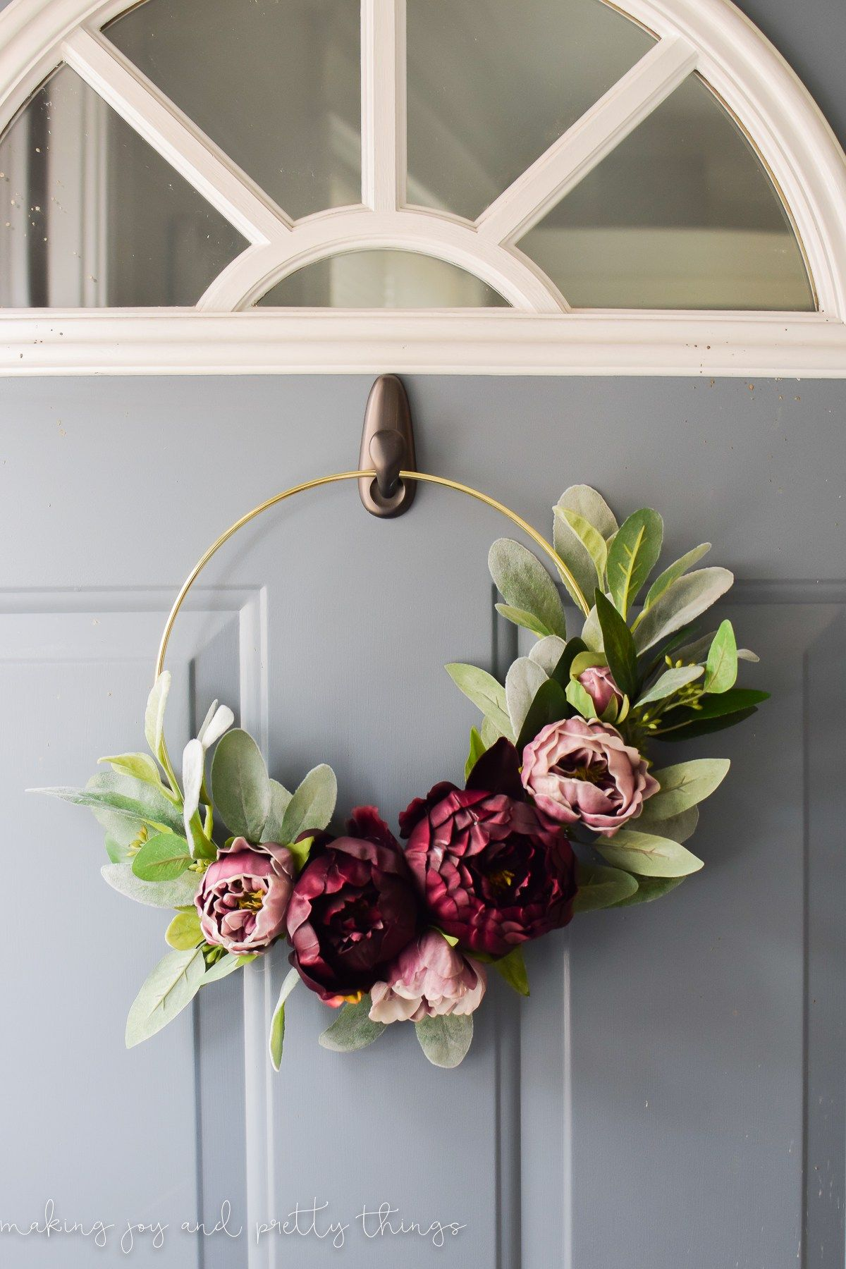 How To Make A Spring Wreath For Front Door Diy Modern Fall Gold Ring Wreath Wreaths Gold Hoops