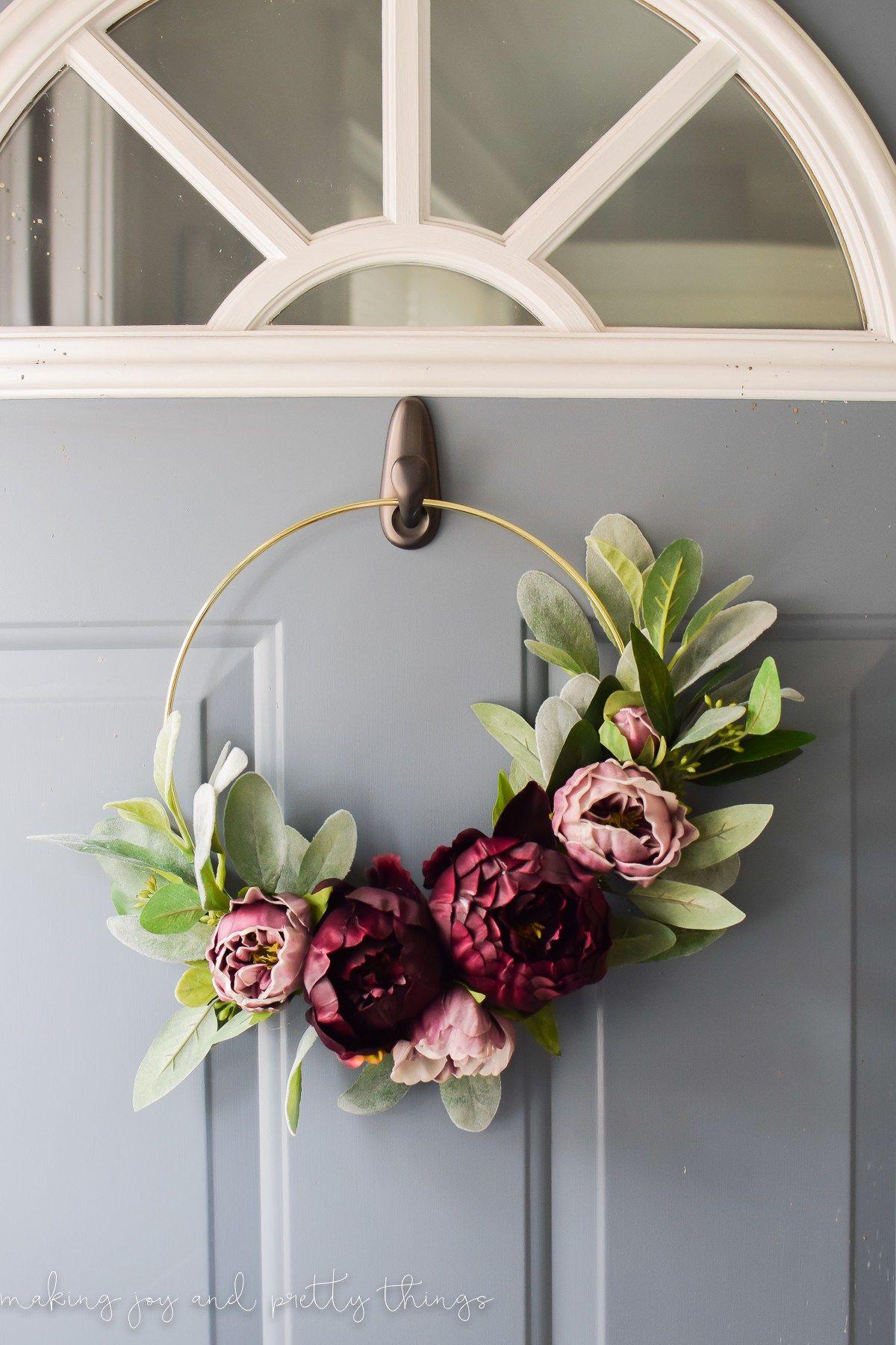 Incroyable Moody Modern Fall Wreath | Diy Fall Wreath | Diy Wreath | Minimalistic  Wreath | Modern Farmhouse | Gold Hoop Wreath