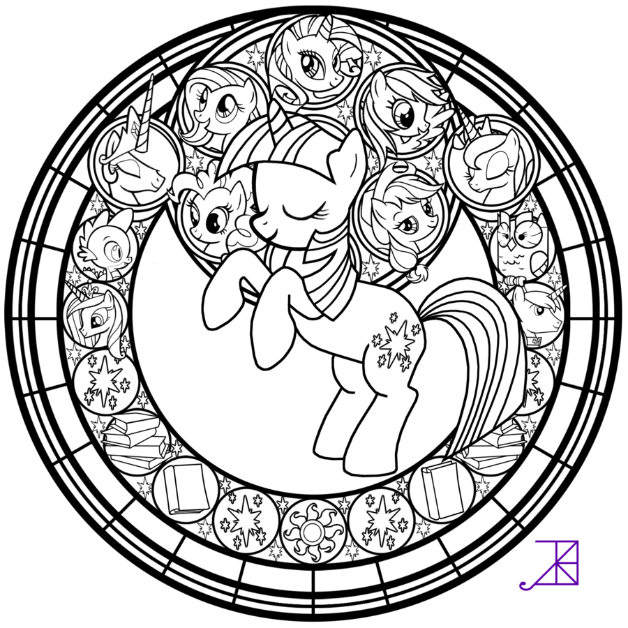 Stained Glass: Twilight Sparkle -line art- by Akili-Amethyst on ...