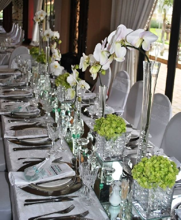 White Flowers Pretoria Event Management Color Pallets Banquet Table Settings Wedding Flowers Color Palettes Colour Schemes & Pin by Caaru0027i Flora on Rectangular / Banquet Style Table Settings ...