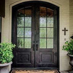 Double Arched Front Doors. Recessed. Rain Glass. Part 30