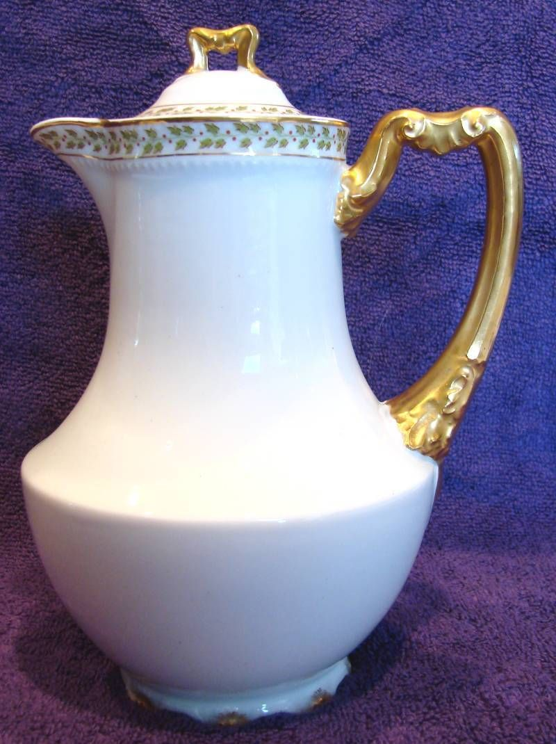 French Haviland Limoges Chocolate Pot Green Leaves Red