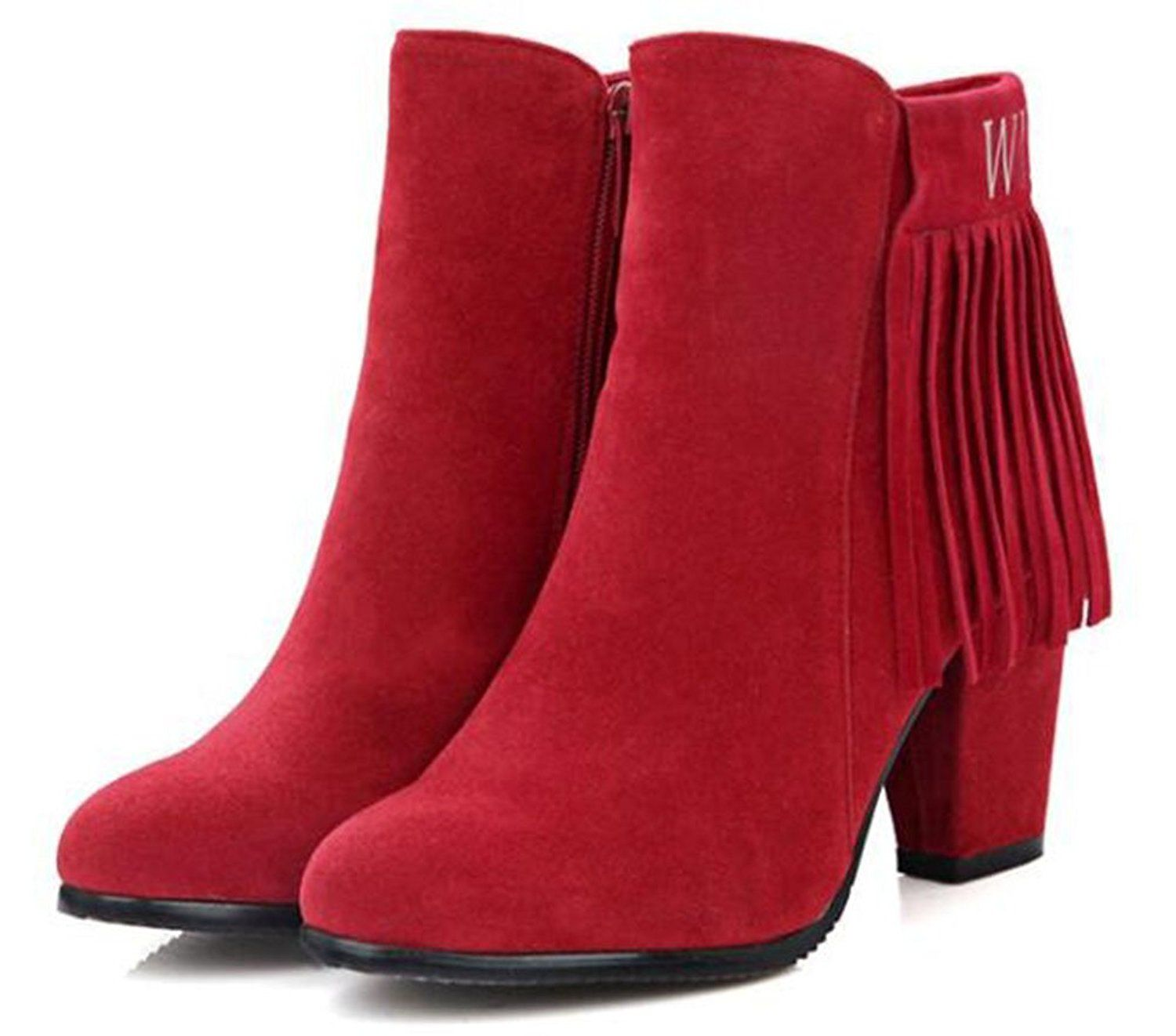 8b39e6ed2e5d CHFSO Women s Fall Trendy Solid Velvet Tassel Round Toe Zipper High Chunky  Heel Ankle Boots    Check out this great product.  womensboots