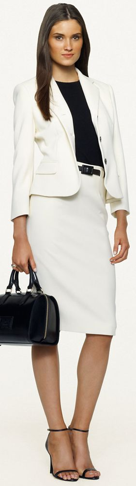 Business Casual Work Outfit White Pencil Skirt Suit Black Top