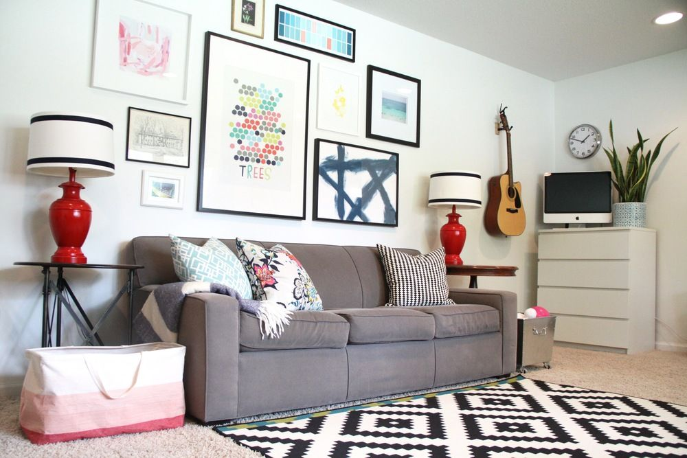 Living Room Gallery Wall With White Walls (Vanilla Milkshake By Benjamin  Moore)