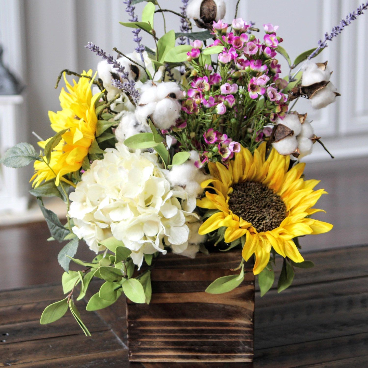 Farmhouse Rustic Decor Summer Arrangement Wood Box Etsy Table Flower Arrangements Sunflower Arrangements Flower Arrangements