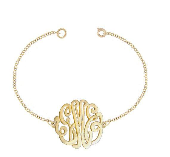 10k Gold Designer Personalized Initial Bracelet Order Any Initials Monogram Bracelet Initial Bracelet Sterling Silver Bracelets