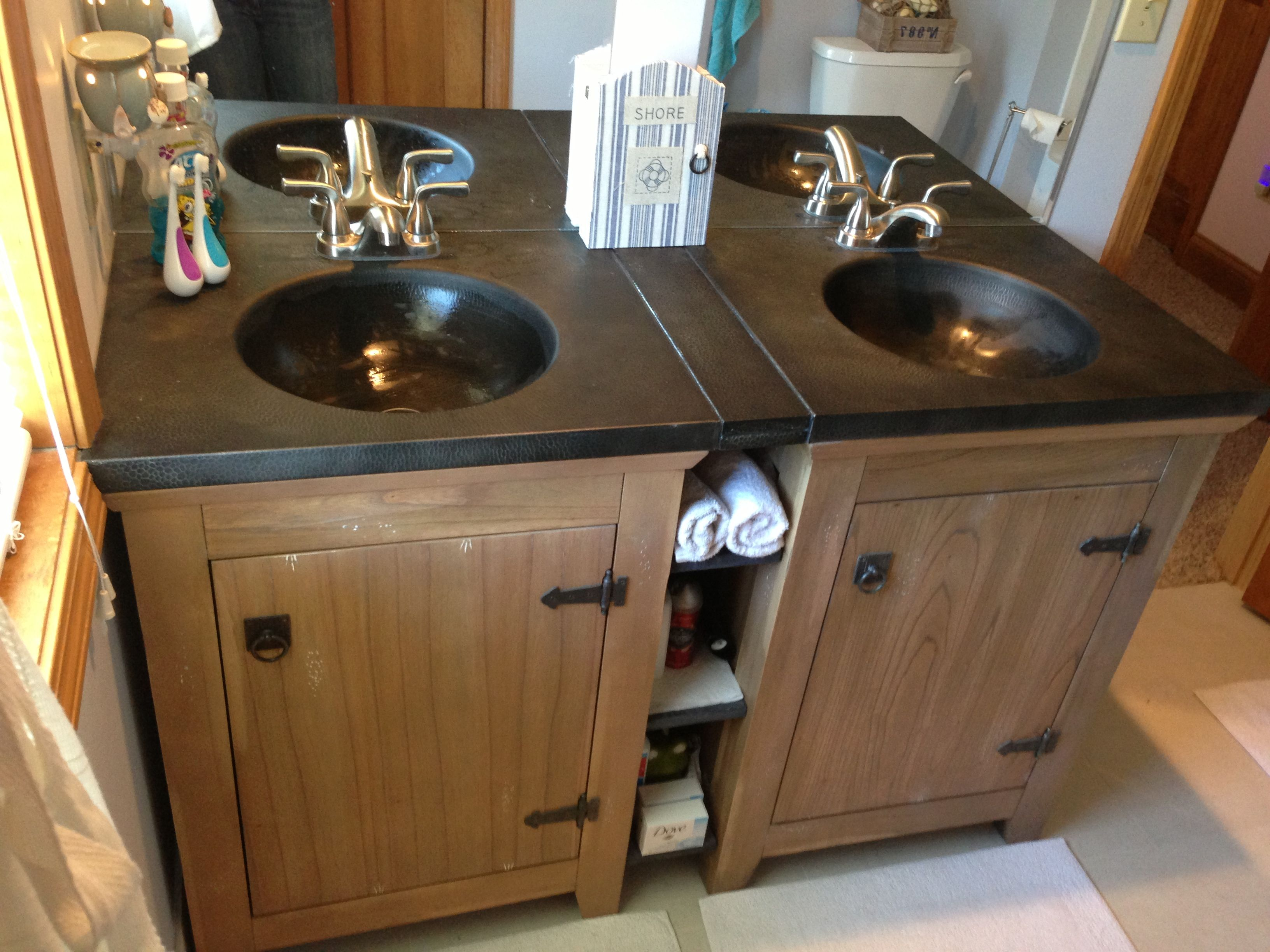 Kids Bath   When You Want A Double Vanity, But Donu0027t Want To Pay The Price For  One Piece $$$   Put Two Single Vanities Together With A Shelf In Between For  ...
