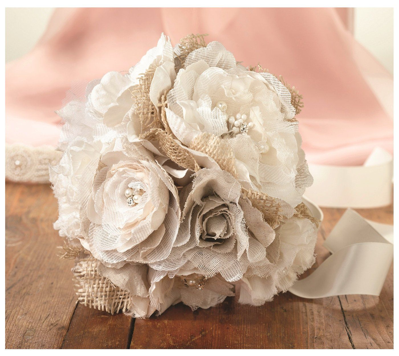 Amazon lillian rose burlap and flower bouquet 75 inch burlap flower wedding bouquet combines burlap cotton fabric flowers shimmering rhinestones with classic pearls into this gorgeous floral arrangement izmirmasajfo