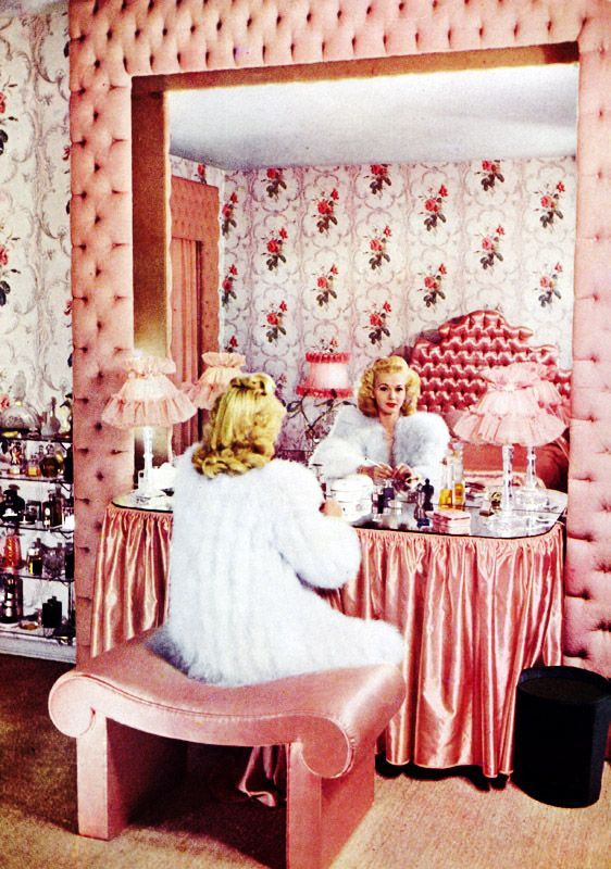 PINK VANITY SILK SHEET COVERED FRAME - WHITE FUR - LIFESTYLES OF THE ...