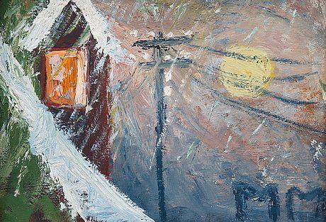 Mauno Markkula: Talvisää, öljy levylle, 23,5x33 cm - Bukowskis