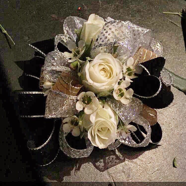 Silver, Black, Gold, Corsage, Prom
