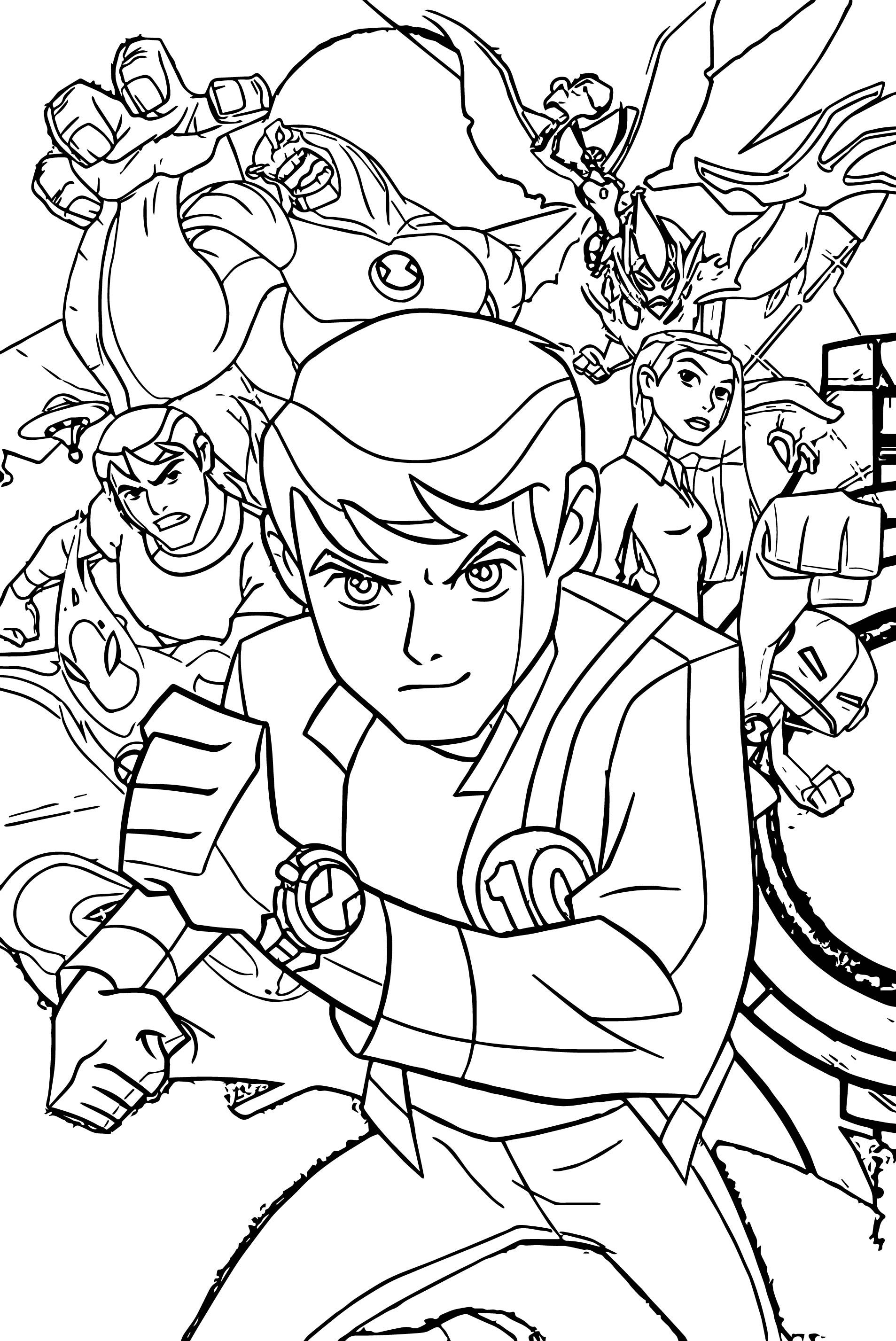 Awesome Benten Ben10 Alien Force Group Poster Coloring Page Ben 10