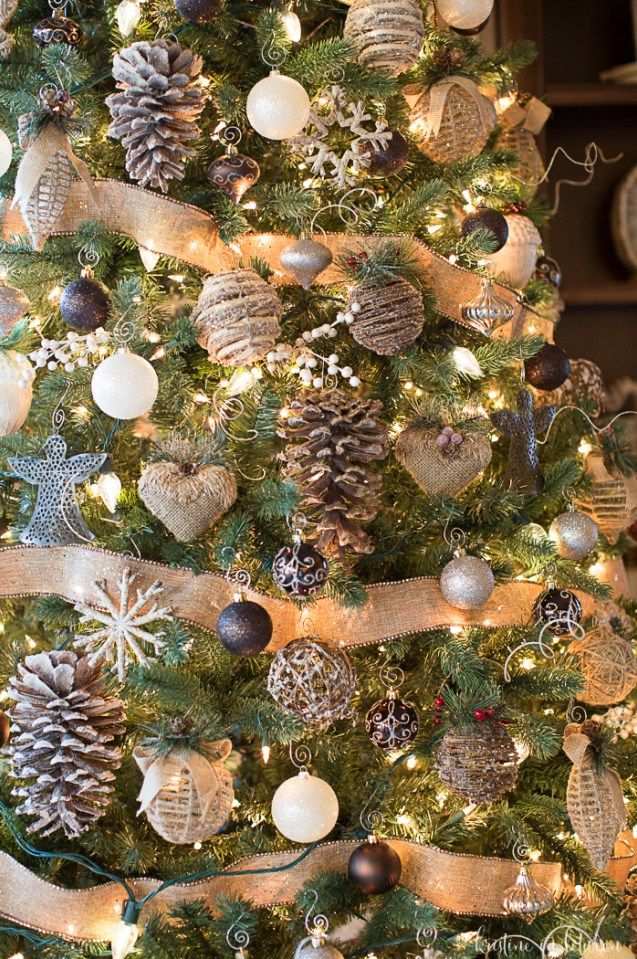 3 Tips To Make A Tree Look Magical Kristine In Between Rustic Christmas Tree Christmas Tree Decorating Tips Woodland Christmas Tree