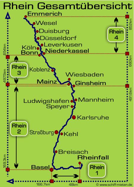 karte schaffhausen deutschland Rheinverlauf vom Rheinfall bei Schaffhausen bis Emmerich