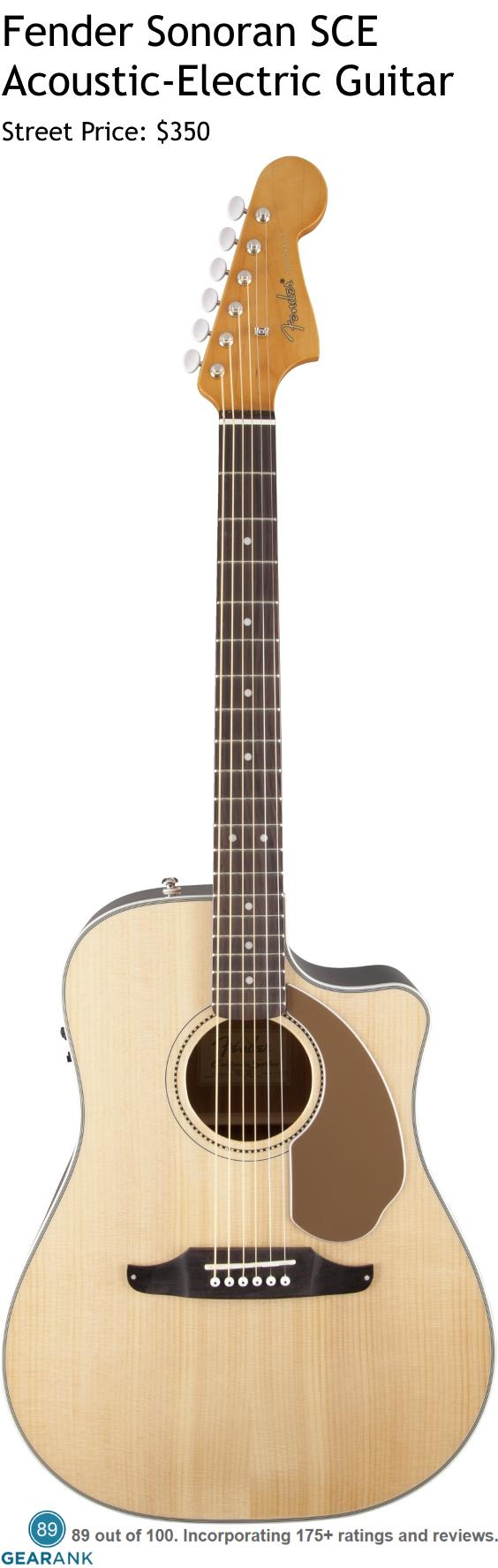 hight resolution of fender sonoran sce acoustic electric guitar it has a solid spruce top with scalloped x bracing and mahogany back and sides for the electronics it uses