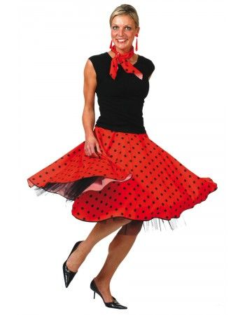 d guisement jupe rock rouge pois noirs d guisements ann es 50 grease sandy deguisement. Black Bedroom Furniture Sets. Home Design Ideas