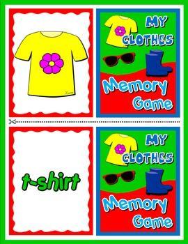 CLOTHES MEMORY GAME | ESL worksheets | Pinterest