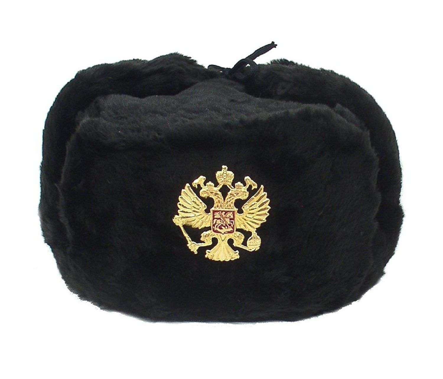 0685430aaca Hat Russian Soviet Imperial Eagle Black KGB  Fur Military Cossack Ushanka   Size L - CE11BUFPZ1P - Hats   Caps