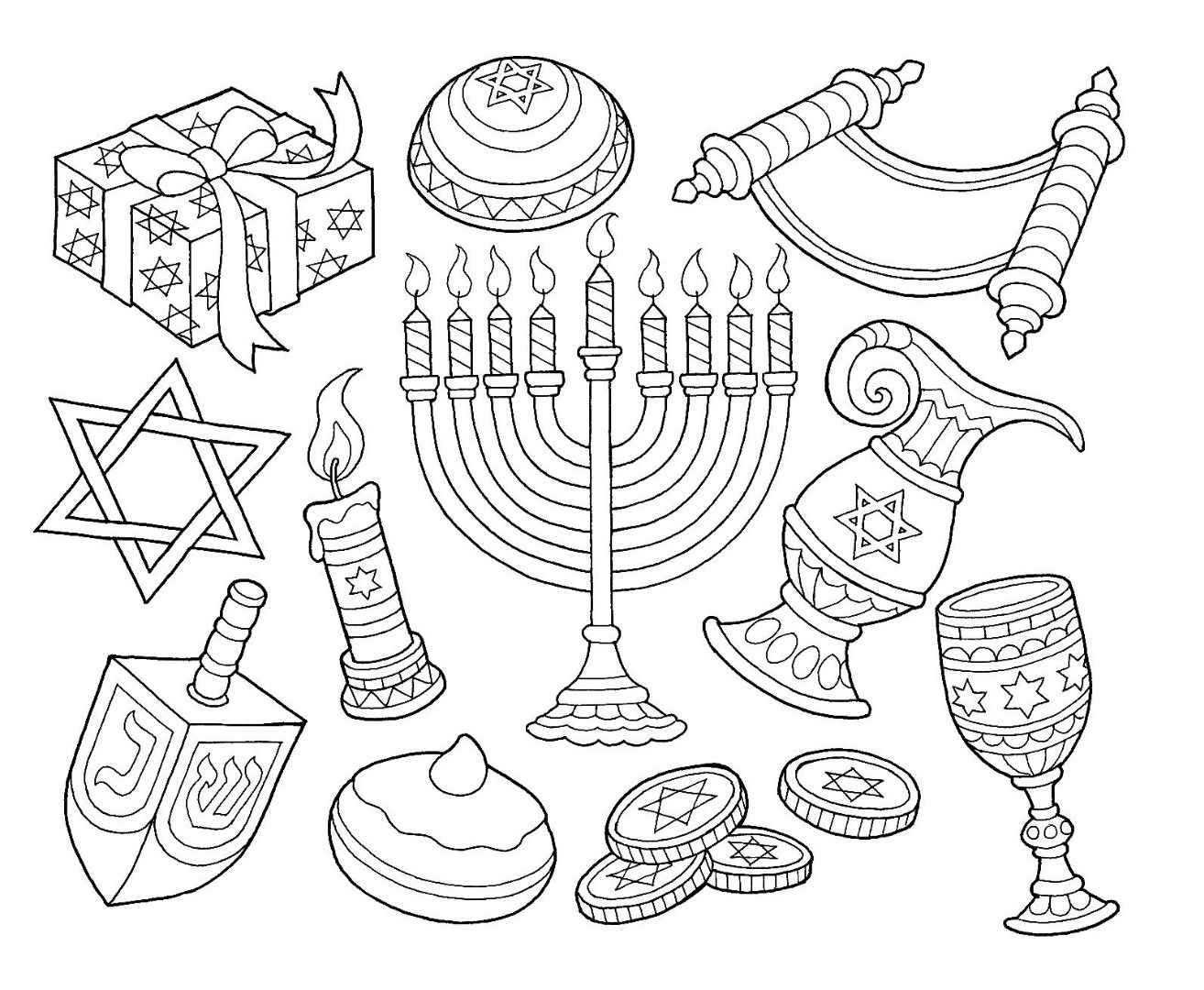 Hanukkah Menorah Dreidel Goblet Coin Coloring Page Hanukkah Art