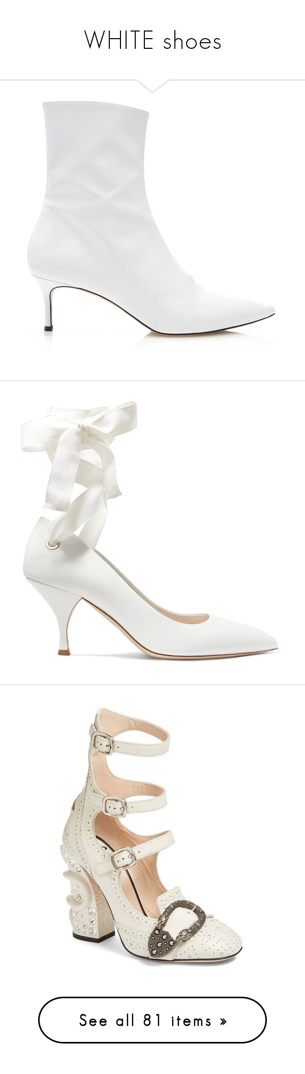 """""""WHITE shoes"""" by jckyleeah ❤ liked on Polyvore featuring white, whiteshoes, shoes, boots, ankle booties, pointed toe leather boots, short boots, pointed-toe boots, leather booties and pointy toe booties"""