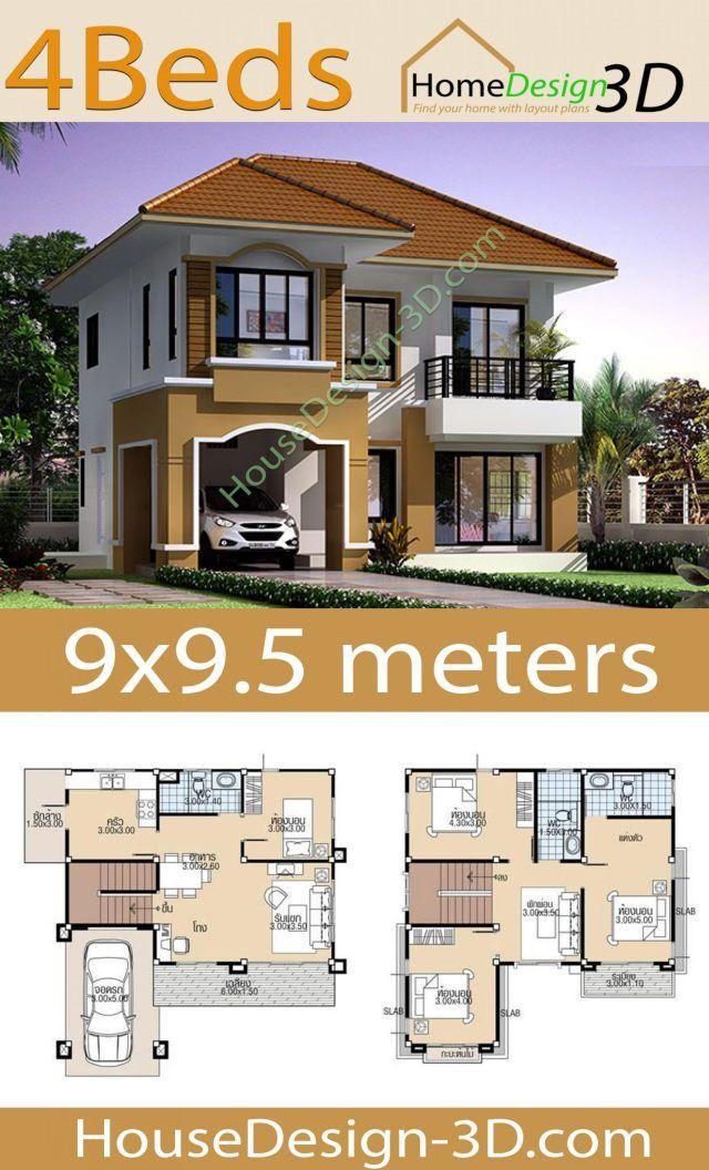 House Design 3d 9x9 5 With 4 Bedrooms House Design 3d In 2020 Duplex House Design House Construction Plan Bungalow Style House Plans