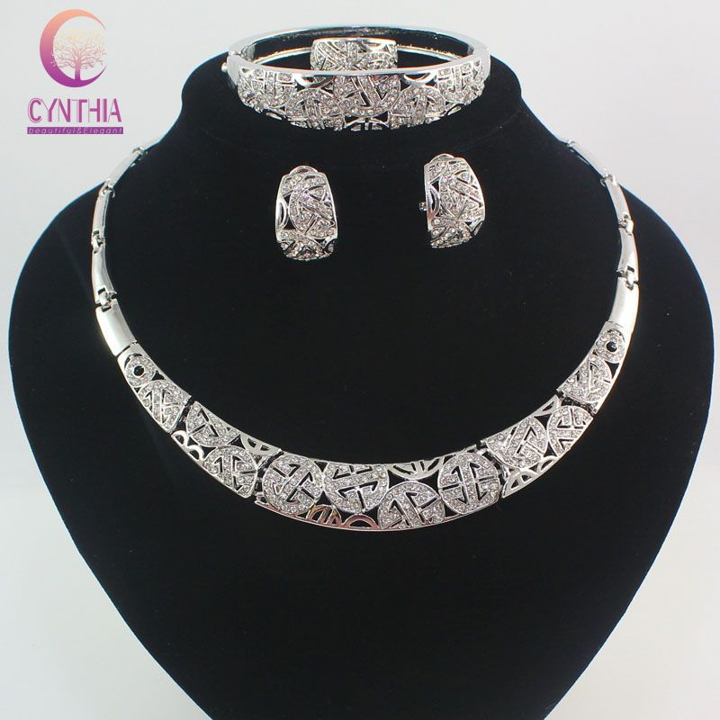 Fashion Dubai Silver Plated Full Rhinestone Jewelry Sets Trendy Nigerian Wedding African Beads Party Gift Set This Is An AliExpress Affiliate Pin