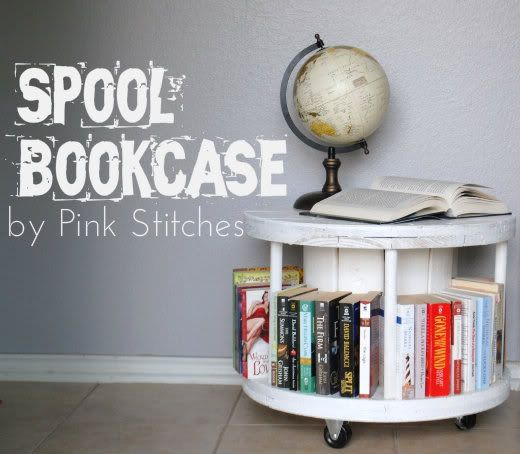 Pink Sches Spool Bookcase Tutorial