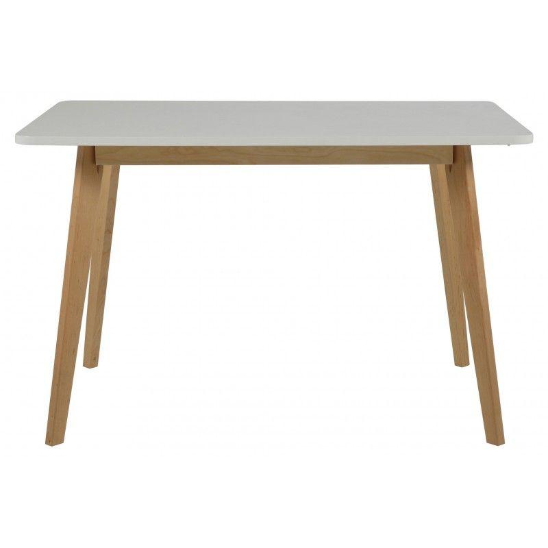 Table de salle à manger contemporaine en bois coloris blanc laqué et