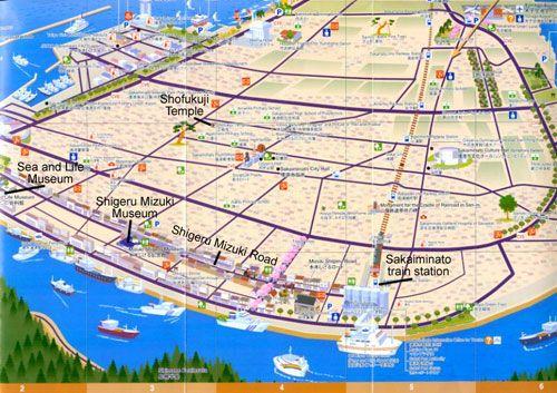 Map Of Tottori Japan Sakaiminato Map From The Sakaiminato Guide Book Japan Tottori Train Station