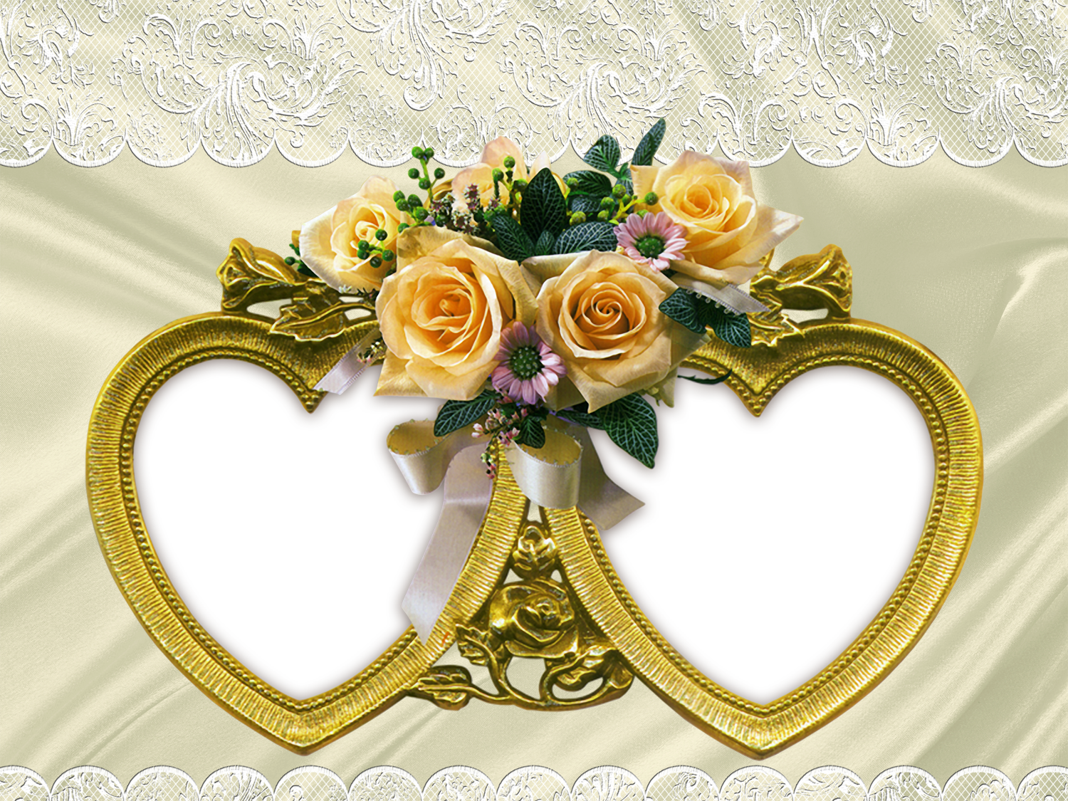 Transparent Frame with Two Hearts and Bouquet of Yellow