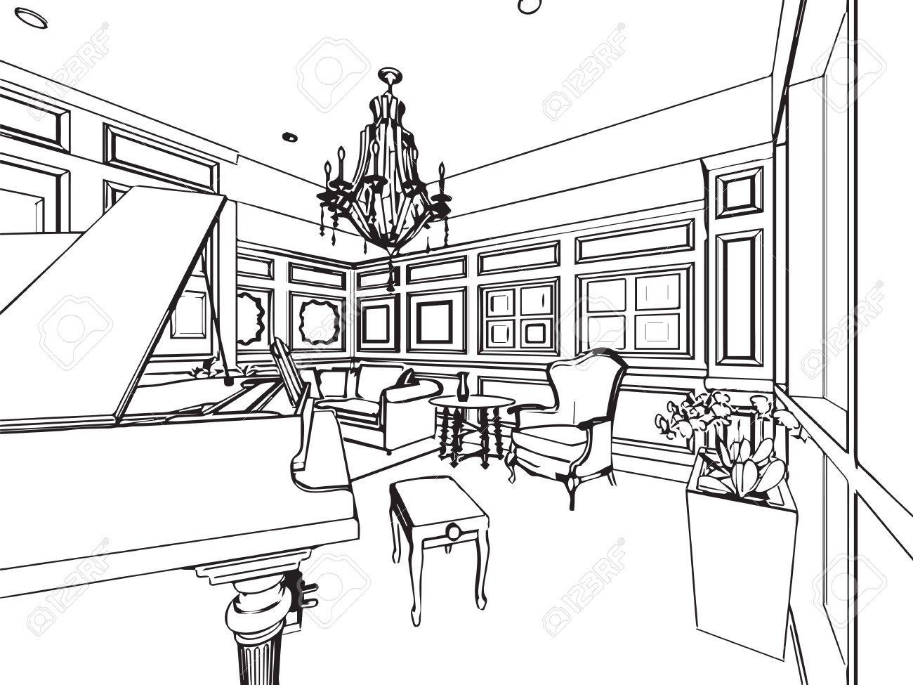 Skizze, Zeichnung Perspektive Eines Inter Raum Umreißen Lizenzfrei ...