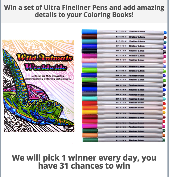 You have 31 chances to win a brand new set of fineliner pens. We will announce 1 winner each day!
