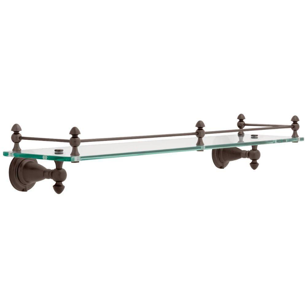 Delta Victorian 20 in. Glass Bathroom Shelf with Rail in SpotShield ...