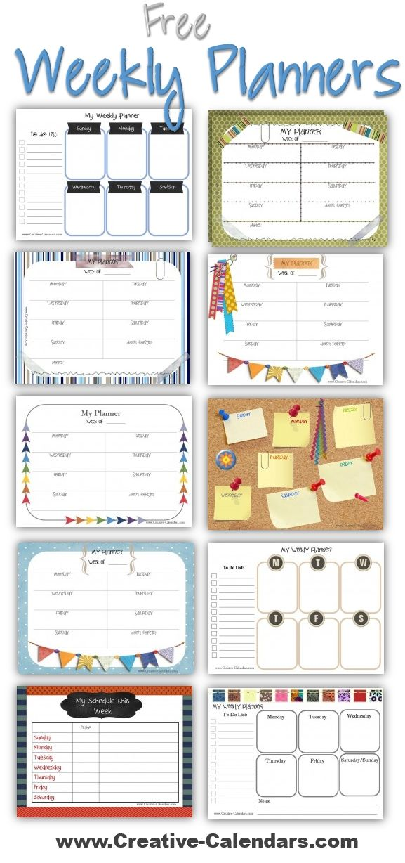 Free printable weekly planners to plan your weekly schedule Cute - family agenda