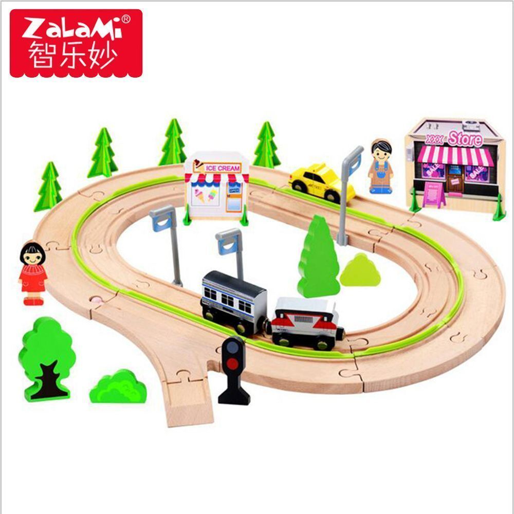 Toys car for baby  pcs Wooden City Railway Train Set For Children Magnetic Car