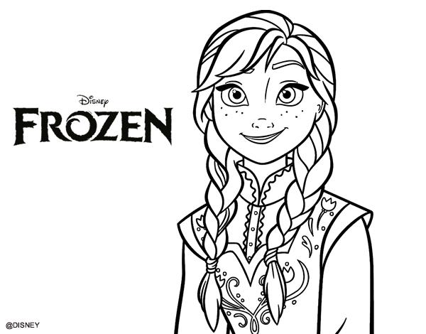 Imprimir Dibujos Para Colorear De Frozen: Dibujo De Anna De Frozen Para Colorear