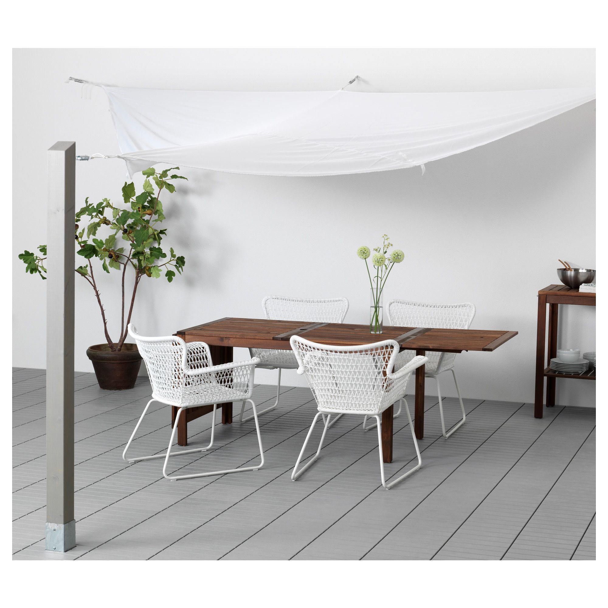Dyning Canopy Wedge Shaped White 360 Cm Ikea Garden Furniture Furniture Patio Spaces