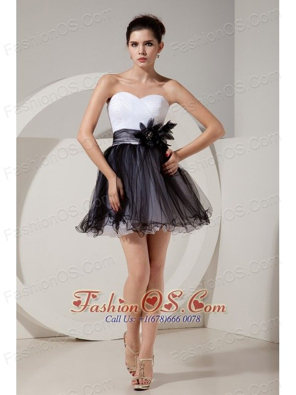 b1bf9e3c69 Glamorous Black and White Short Prom Dress A-line   Princess Sweetheart Mini-length  Tulle Hand Made Flowers-  96.23 www.fashionos.com custom made prom ...