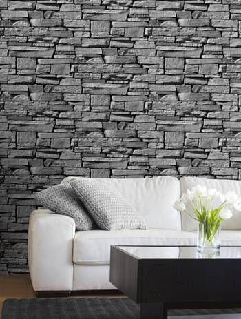 Behang in antraciet #steen dessin   INTERIEUR ✽ Behang   Wallpaper ...
