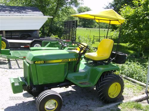 JD 420 With Shade, Rear Toolbox And A Nice Front Ballast Bar.