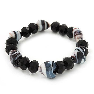 Black/White Heart & Faceted Bead Flex Bracelet - 18cm Length Avalaya. $10.80. Type: stretchy. Occasion: casual wear, cocktail party. Theme: heart. Material: glass. Collection: heart