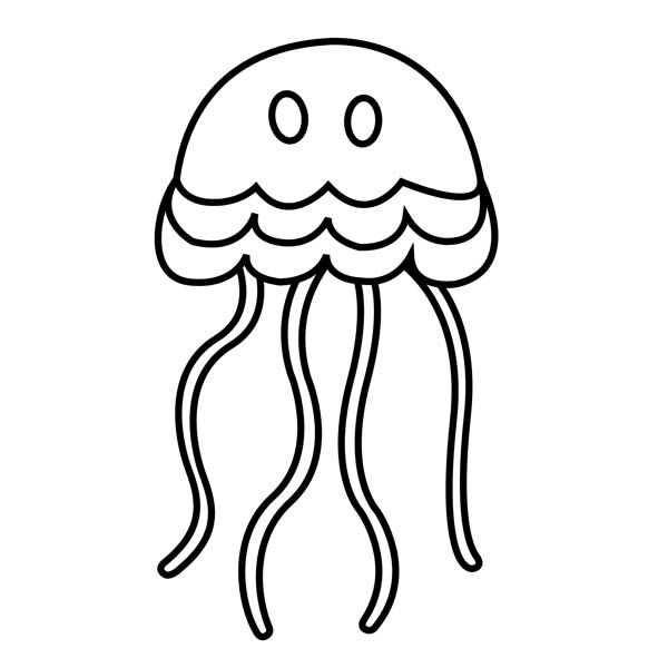 simple cartoon jellyfish coloring page - Download & Print ...