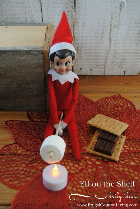 Elf on the Shelf Ideas | Elf Makes S'Mores #naughtyelfontheshelfideas