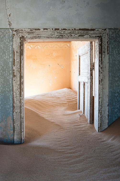 "fabforgottennobility: "" Kolmanskop (2) by Monique vd Hoeven on Flickr. Kolmanskop (Afrikaans for Coleman's hill, German: Kolmannskuppe) is a ghost town in the Namib desert in southern Namibia, a few..."