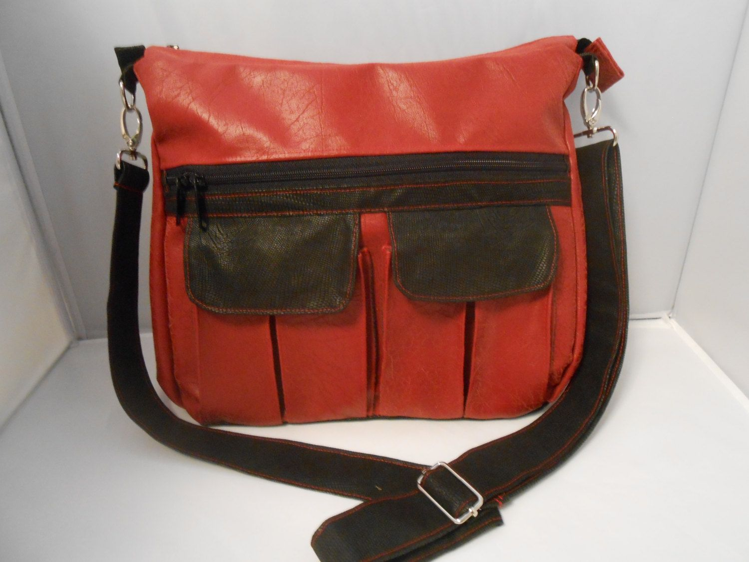 Soft Red Crossbody Bag Large Womens Faux Leather Purse Messenger