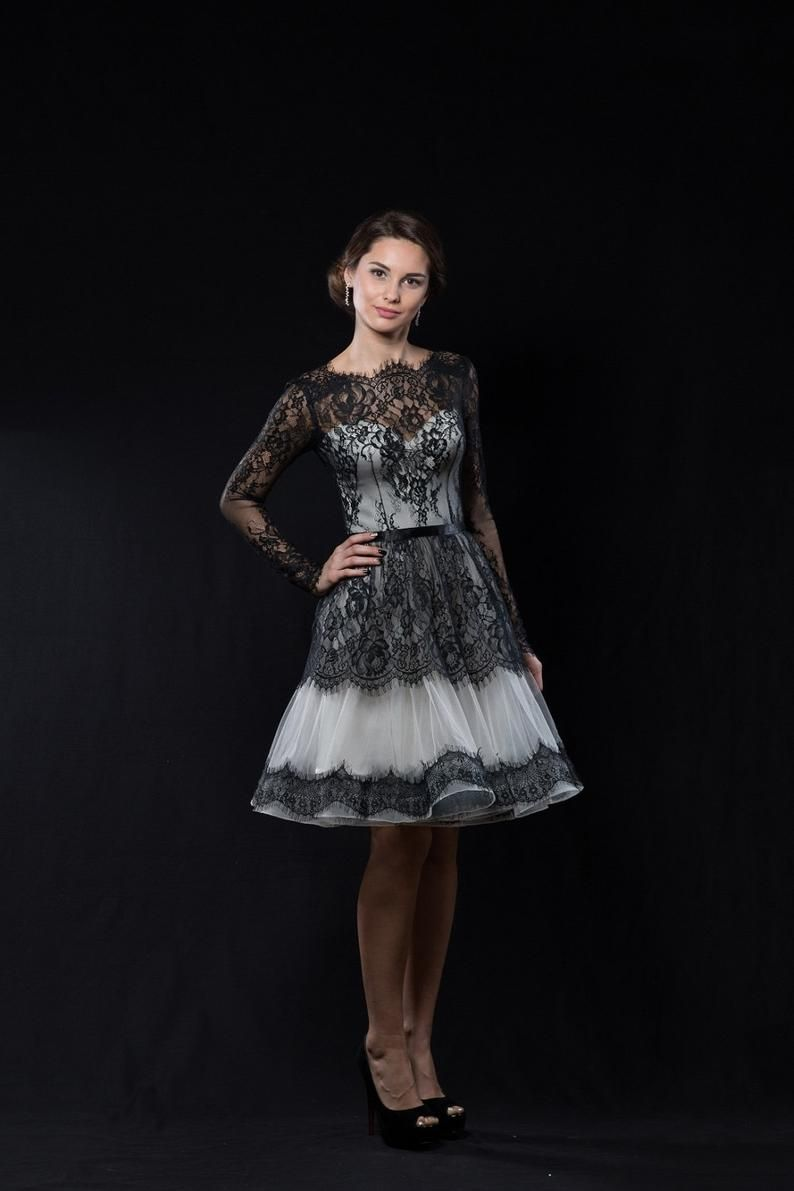 Black And White Wedding Dress Short Bridal Dress With Lace Etsy Short Bridal Dress Short Wedding Dress Trendy Wedding Dresses [ 1191 x 794 Pixel ]