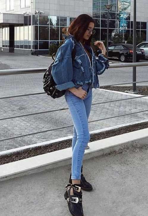 Bayanlar Icin Gunluk Kis Kombinleri Mavi Kot Pantolon Kisa Kot Ceket Kot Ceket Klasik Moda Moda Stilleri