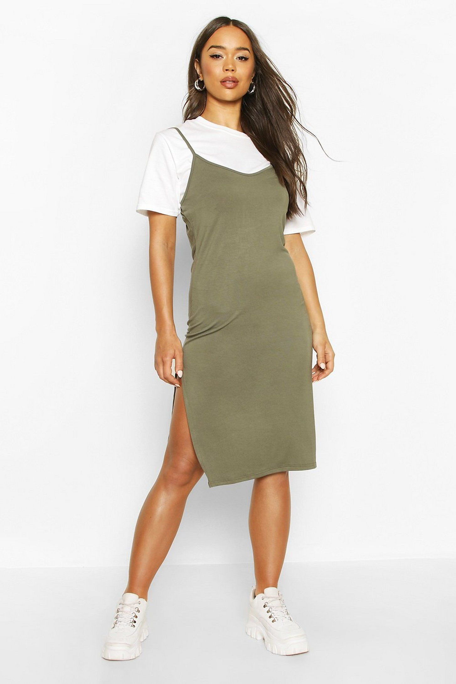 Jersey Slip Midi Dress Boohoo Slip Dress Outfit Trendy Dress Outfits Tomboy Style Outfits [ 2181 x 1454 Pixel ]