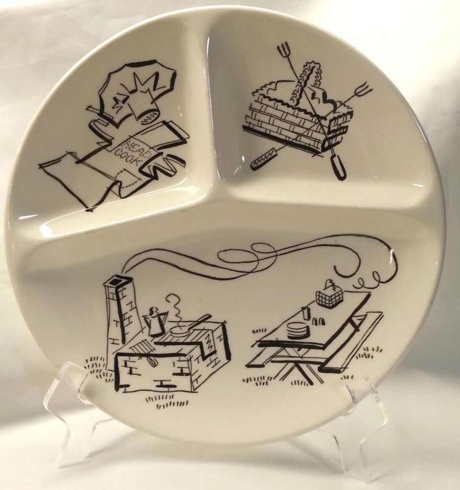 Mid Century Divided Plate BBQ Picnic Patio Party Grill Ceramic 10  #midcentury #mcm & Mid Century Divided Plate BBQ Picnic Patio Party Grill Ceramic 10 ...